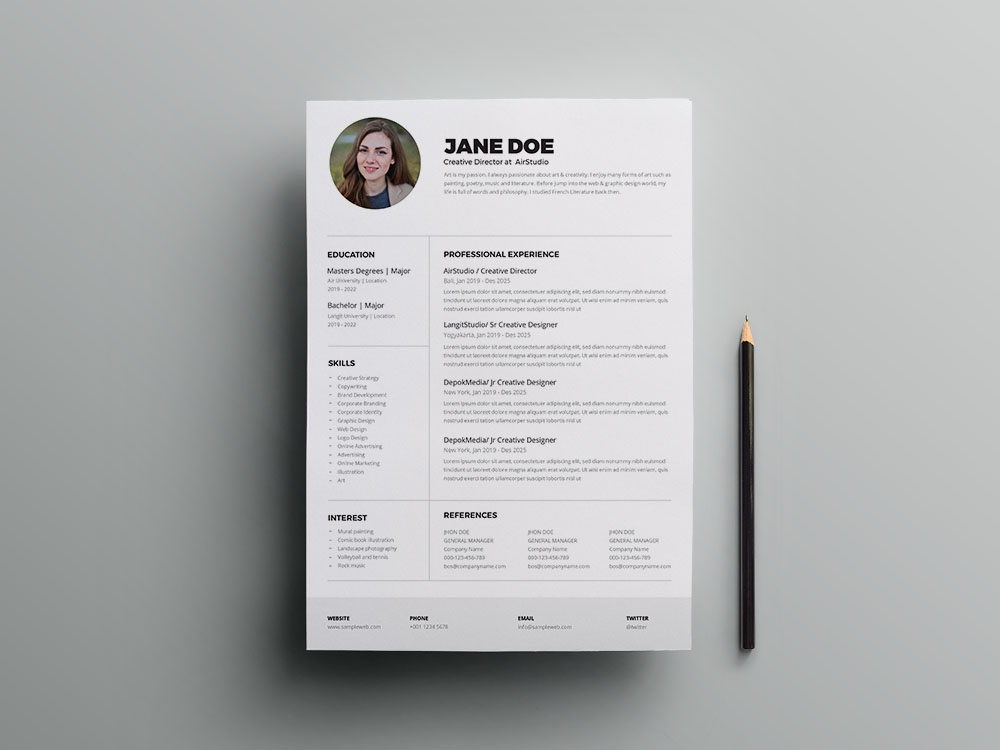 Free Printable CV/Resume Template by Andy Khan on Dribbble