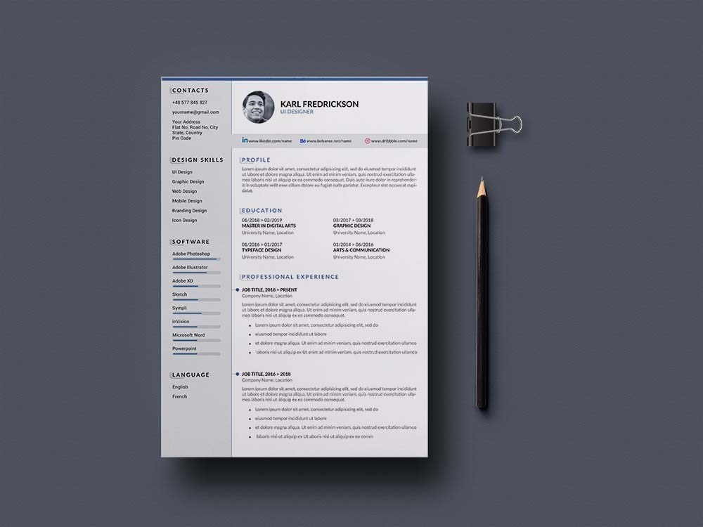 Free Psd Resume Template With Cover Letter By Andy Khan On Dribbble