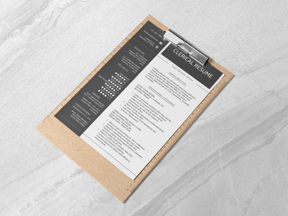 Free Clerical Resume Template by Andy Khan on Dribbble