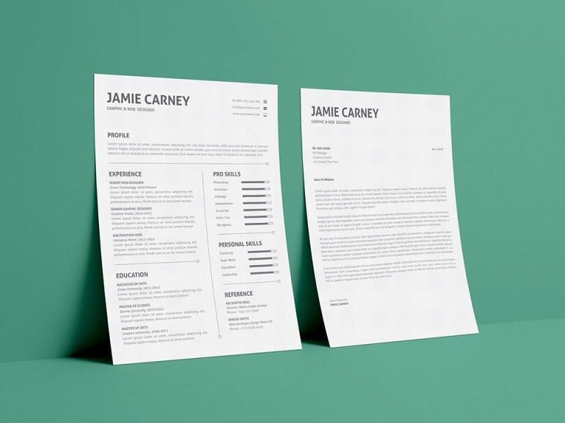 Free Simple Resume Template With Cover Letter By Andy Khan On Dribbble