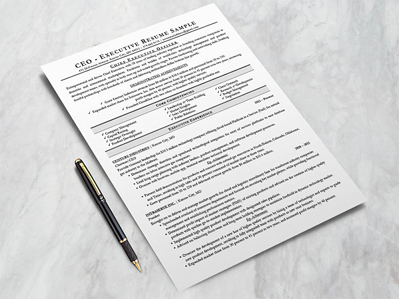 Free Executive Resume Template (CEO, CIO, CTO) by Andy Khan ...