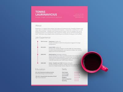 Free Pink CV Resume Template