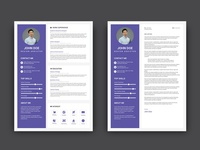 Free Purple CV/Resume Template with Cover Letter