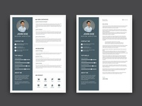 Free Royal Blue CV/Resume Template with Cover Letter