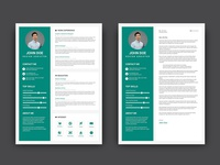 Free Teal CV/Resume Template with Cover Letter