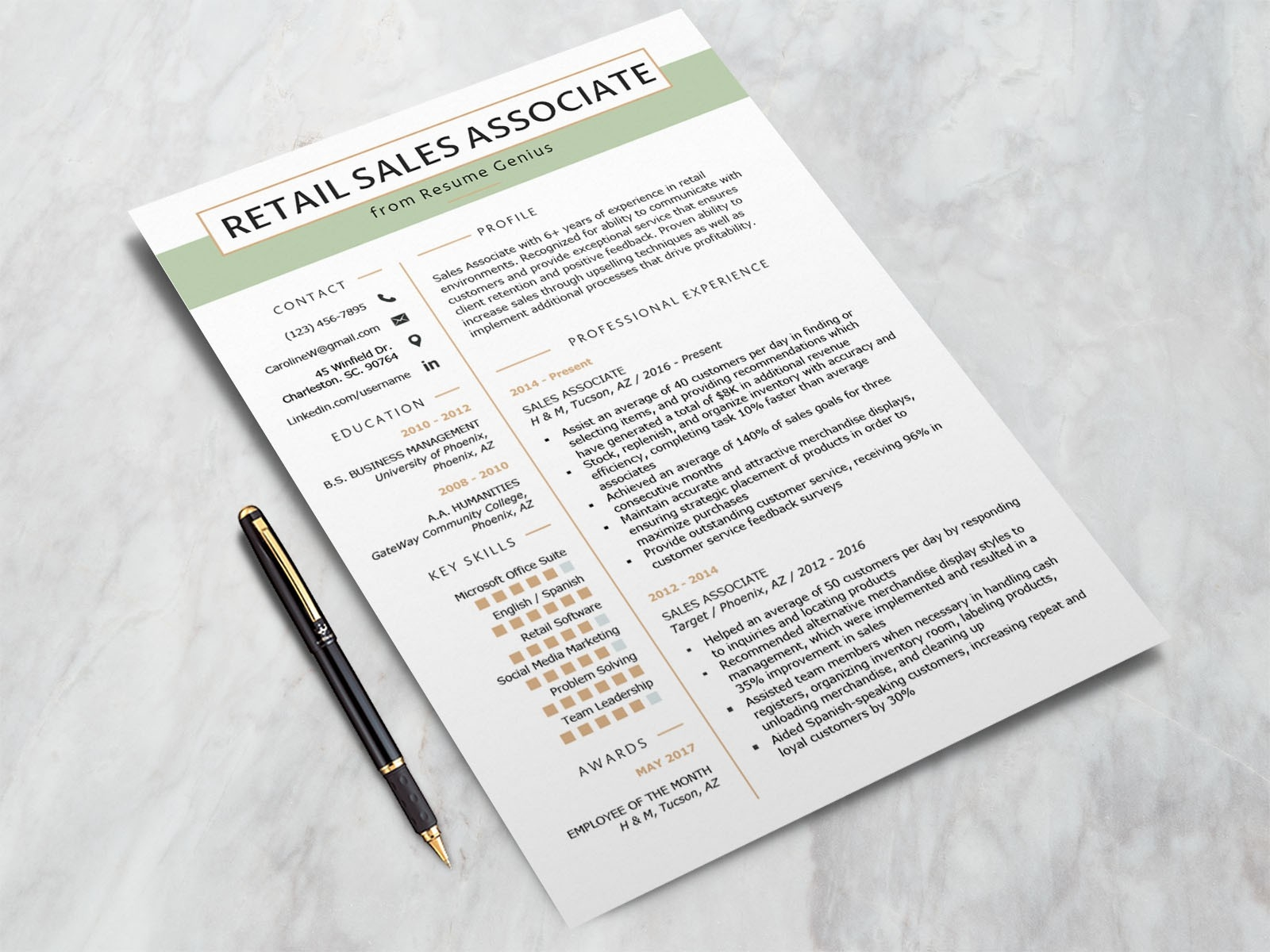 Free Retail Sales Associate Resume Template By Andy Khan On Dribbble