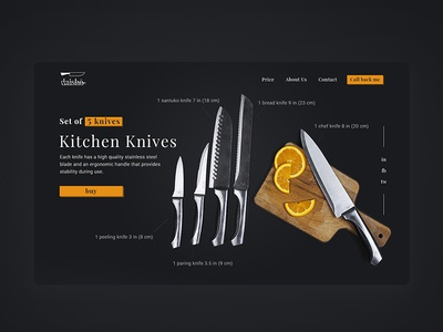 Product landing page for sale knives