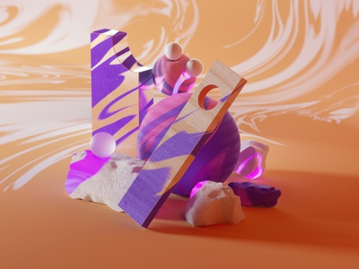 Abstract Composition megascans design octanerender octane illustration cinema4d c4d abstract 3d illustration 3d