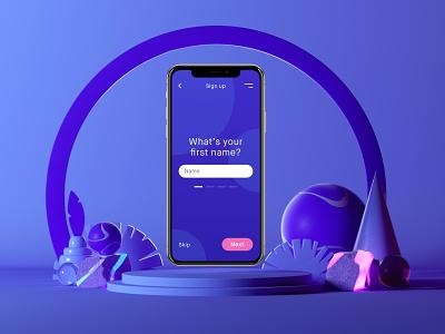 Sign Up purple branding user inteface ui megascans design octanerender octane illustration cinema4d c4d abstract 3d illustration 3d