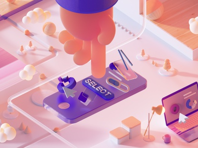 Select branding ui design octanerender octane illustration cinema4d c4d abstract 3d illustration 3d