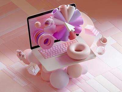 Pastel UI ui design octanerender octane illustration cinema4d c4d abstract 3d illustration 3d