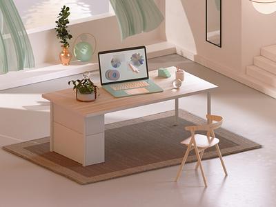A Desk megascans design octanerender octane illustration cinema4d c4d abstract 3d illustration 3d