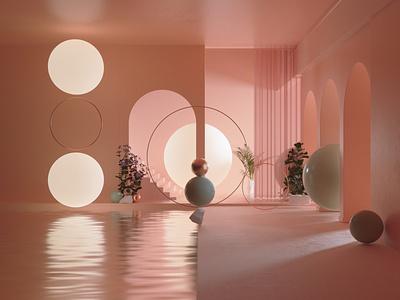 Pastel Room interior octanerender octane illustration cinema4d c4d abstract 3d illustration 3d