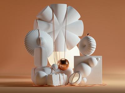 Golden Threads design octanerender octane illustration cinema4d c4d abstract 3d illustration 3d