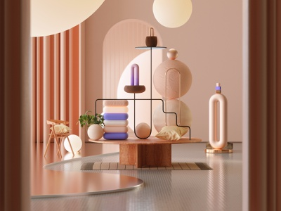 Room of Objects megascans design octanerender octane illustration cinema4d c4d abstract 3d illustration 3d