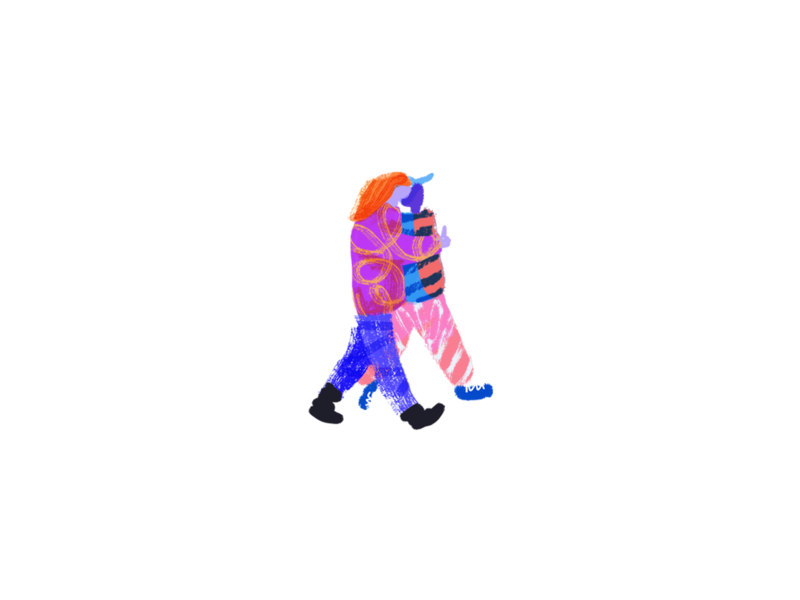 H4 friends walk texture pattern illustration design concept web illustration illustration design