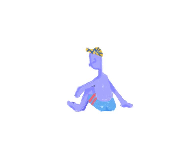 H5 hat sunbathing human texture web illustration illustration design