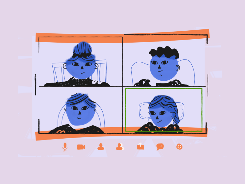 Illustration for groovehq.com remote work screen meeting remote zoom concept web illustration design illustration