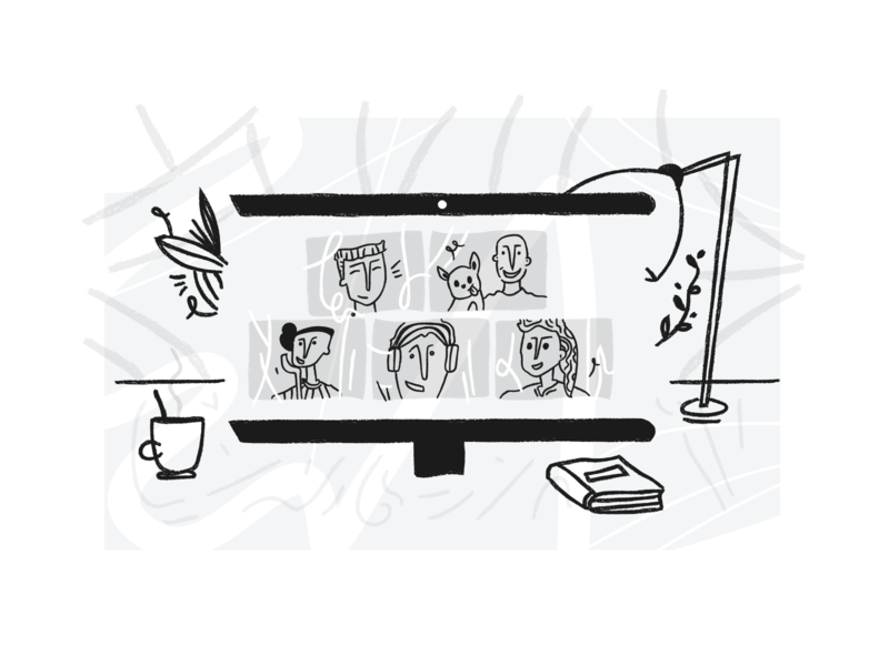 Illustration for groovehq.com online meeting zoom remotework remote team vector concept web illustration illustration design