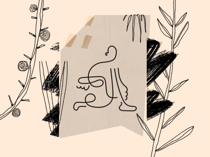 Jungle walk 🍃 texture collage concept web illustration illustration design