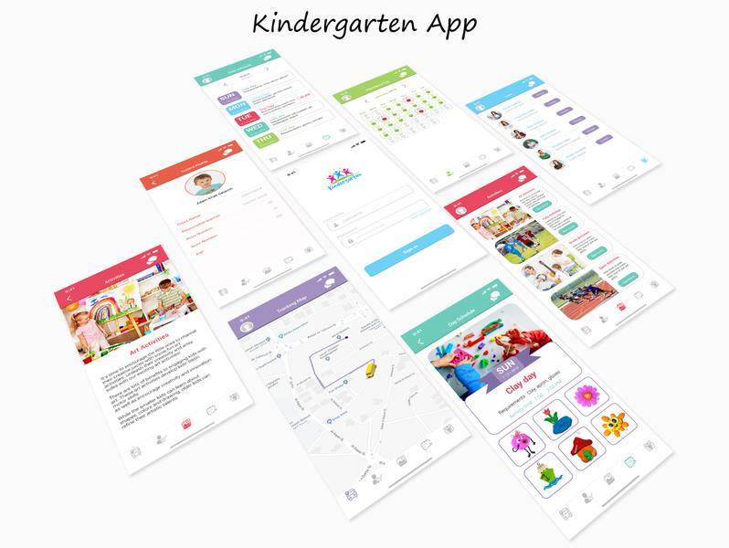 Kindergarten App activities ui mobile design adobe xd school bus school teachers kids parents ios application ui design uiux