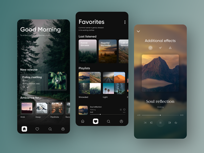 Meditation Ambient App spotify player ui player ambience ambient nature ux ui design interface practice yoga mobile ui mobile music app music application app meditate meditation