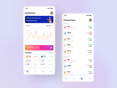 Mobile app - Crypto Wallet credit debit gradient graph tabbar dashboard transactions cryptocurrency mobile app blue wallet ui