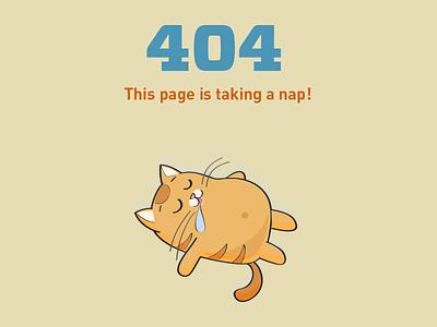 DailyUI 008: 404 page sleep nap broken 404 cat illustration 008 dailyui