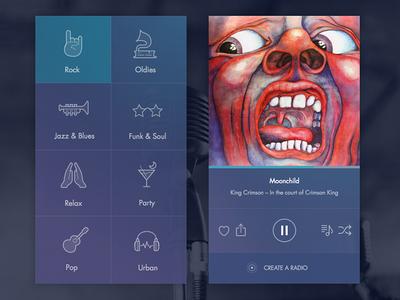 DailyUI day 009: Music player interface ui radio ios app player music 009 dailyui