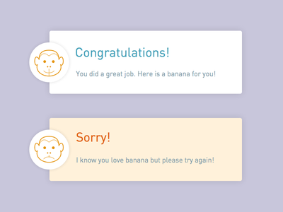 Daily UI-day 011 ui icon monkey message error success 011 dailyui