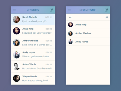 DailyUI Day013: Direct messaging interface ui ios chat message 013 dailyui
