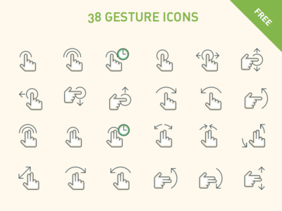 38 free gesture icons