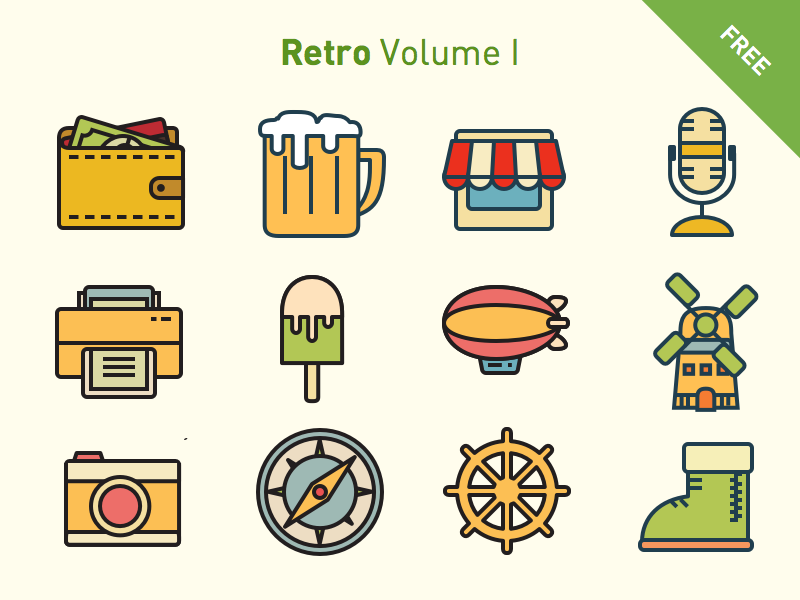 Free vector icons: Retro Volume 1 freebies free page landing interface icon line flat retro svg icons vector
