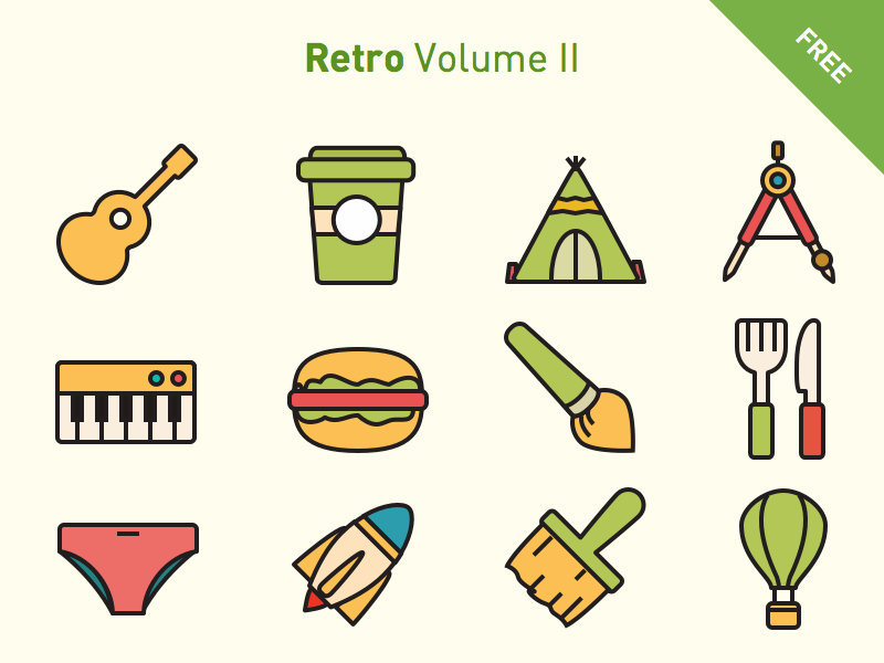 Free vector icons: Retro Volume 2 line simple flat retro svg icon vector icons free freebies