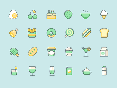 Foods And Drinks ice-cream cocktail cake drink food icons icon