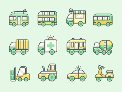 Transportation icons icons ambulance scooter truck van bus vehicle taxi transportation line icon