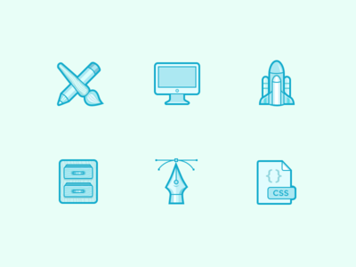 Experiment css vector pen drawer spaceship rocket pencil brush icons