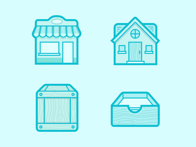 Experiment 2 storefront inbox mail wooden wood box home house icons shop