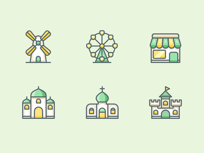 Travel And Location illustration frontstore store shop castle temple church windmill coaster roller icons icon
