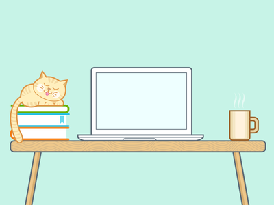 Workspace illustration macbook kitty cat workspace desk desktop