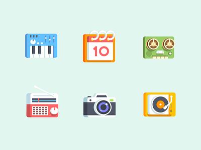 3D icons isometric vinyl dj turntable camera radio tape icons calendar instrument keyboard