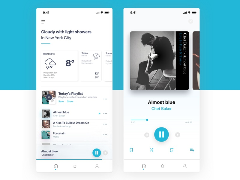 Super Minimalist Weather/Music app player playlist songs music minimal minimalist weather ux design concept ui design ui app dribbble