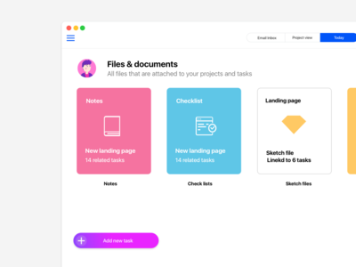 Project & Files management app ui