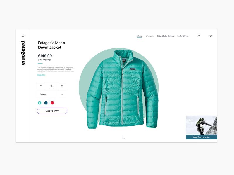 Minimalist product page jacket nature patagonia web ppage ux design ui