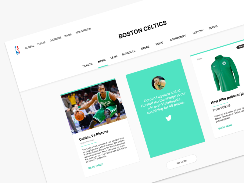 Boston Celtic Basketball News Page concept clean minimalist ux design ui