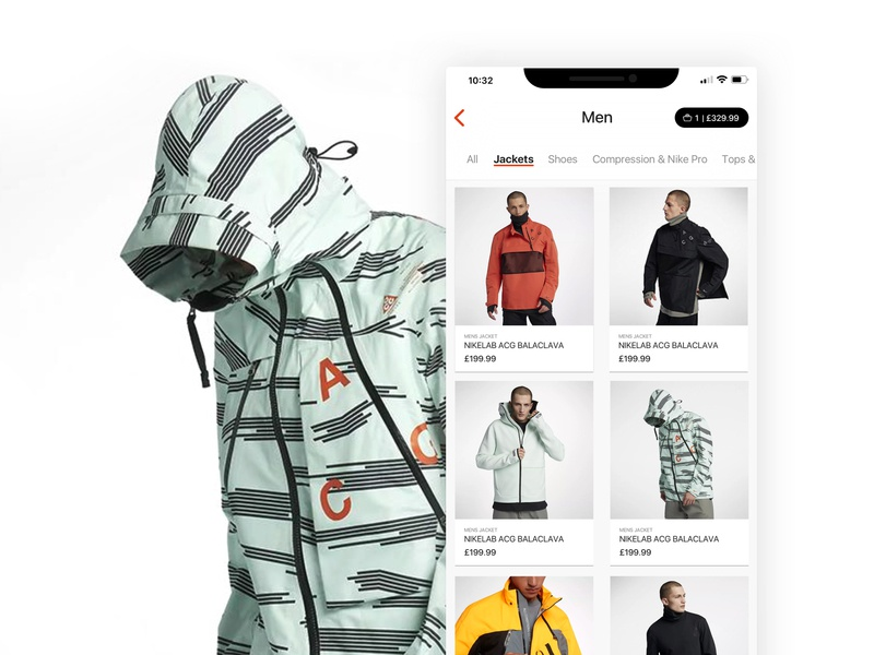 Nike ACG - Outerwear Store UI 2 shopping shop nike app dribbble ux clean design minimalist ui