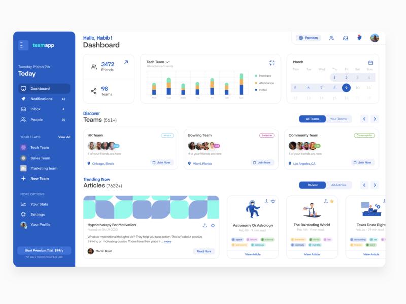 TeamApp UI Dashboard collaboration team ui design dashboard ux design uxui ux