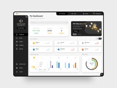 Crypto Dashboard dribbble dashboard app dark data visualization dataviz charts maidsafe ripple monaro ethereum litecoin bitcoin crypto wallet cryptocurrency crypto userinterface dashboard ui dashboad