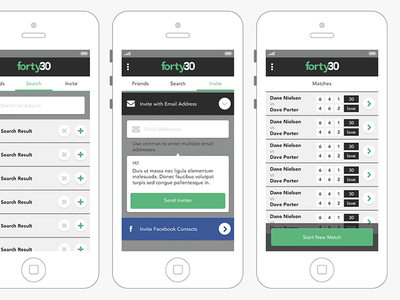 Forty30 App Preview forty30 app tennis ux ui flat ui flat mobile
