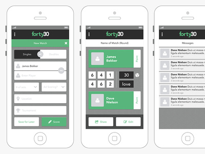 Forty30 App Preview 2 forty30 app tennis ux ui flat ui flat mobile